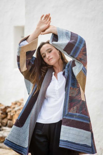 Thick cotton jacket with a running kantha stitch