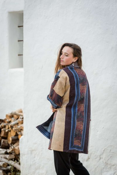 Patchwork cotton jacket in wintry tones