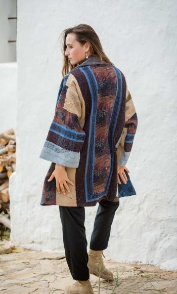 Oversized coat made from patchwork cotton