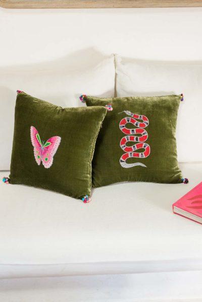 Green Velvet Snake Cushion Cover