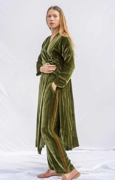 Velvet Stripe Trousers Green