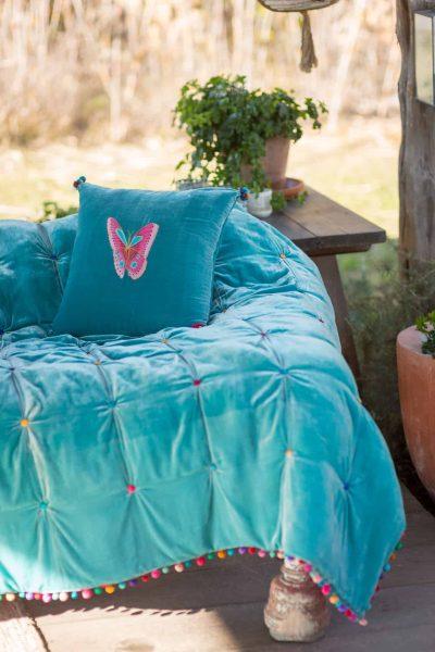 Turquoise Velvet Blanket With Silk Ball Trim