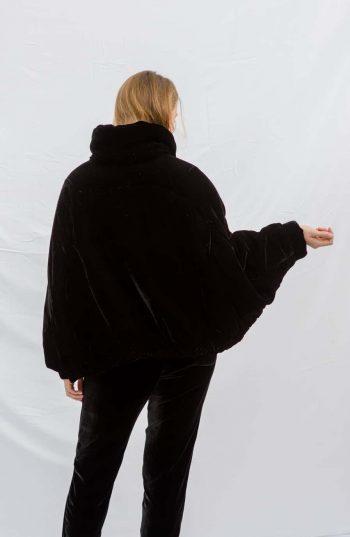 black velvet jacket with contrasting lining
