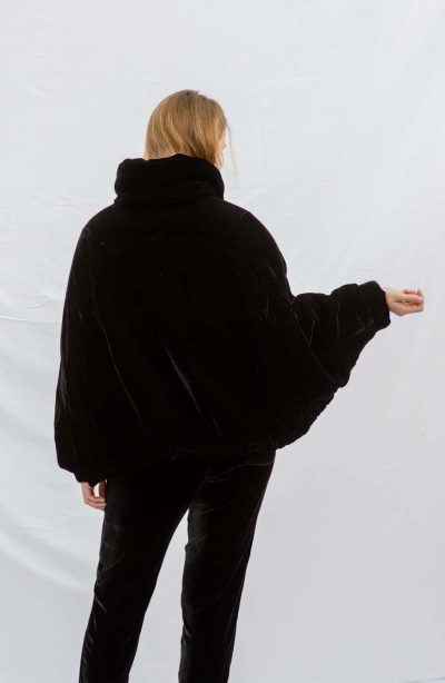 black velvet jacket with contrasting lining