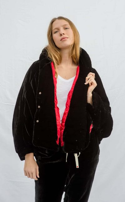 black velvet puffy jacket with red silk lining