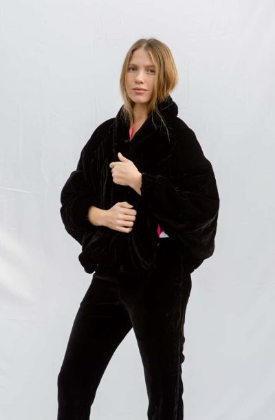 black velvet puffy jacket with pink silk lining