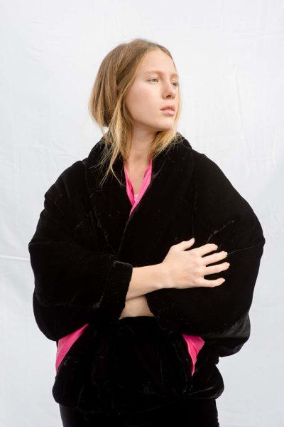Black quilted velvet jacket