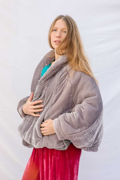 dusty silver velvet jacket with pockets