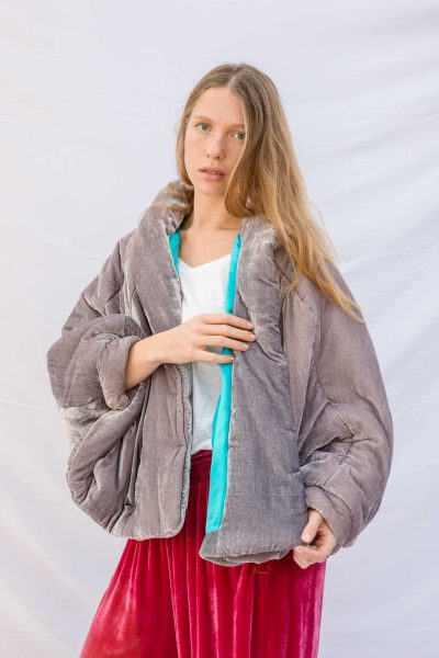 dusty silver velvet jacket with a turquoise silk lining