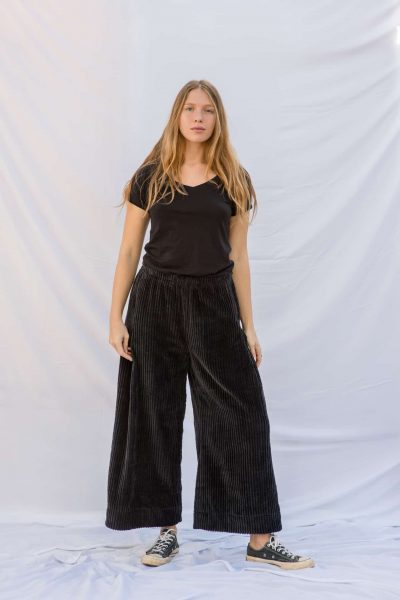 charcoal grey corduroy trousers with wide legs