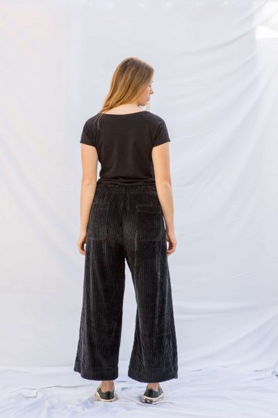 charcoal grey corduroy trousers with back pockets