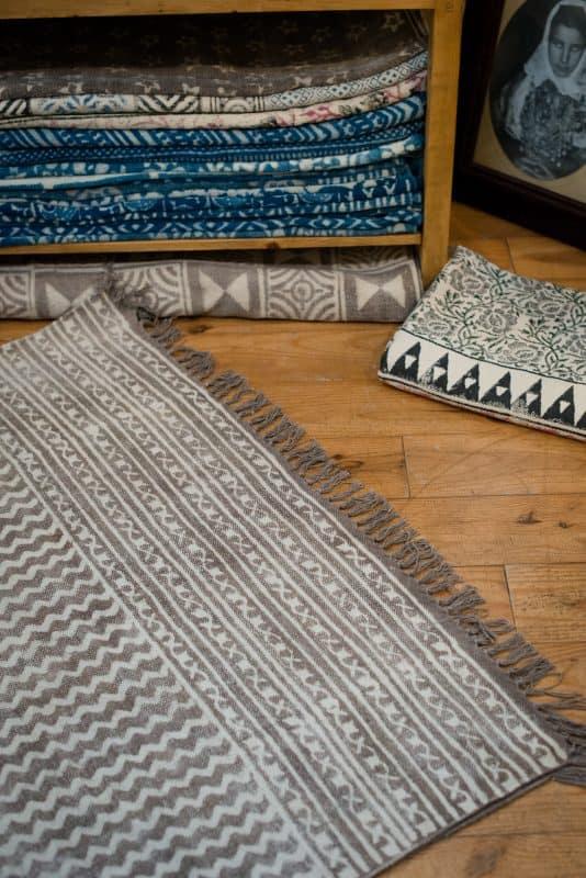 brown hand block print carpets