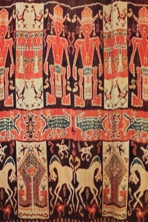double woven ikat wall hanging with motifs
