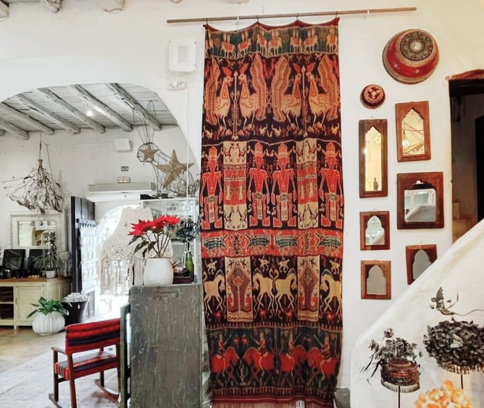 long double ikat woven wall hanging decoration