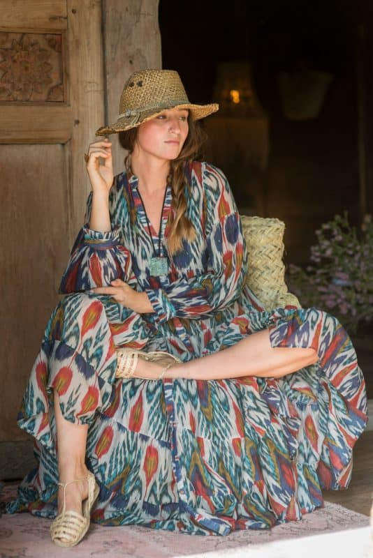blue and red ikat print long dress