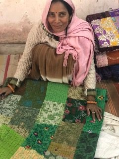 hand making kantha patchwork mattresses