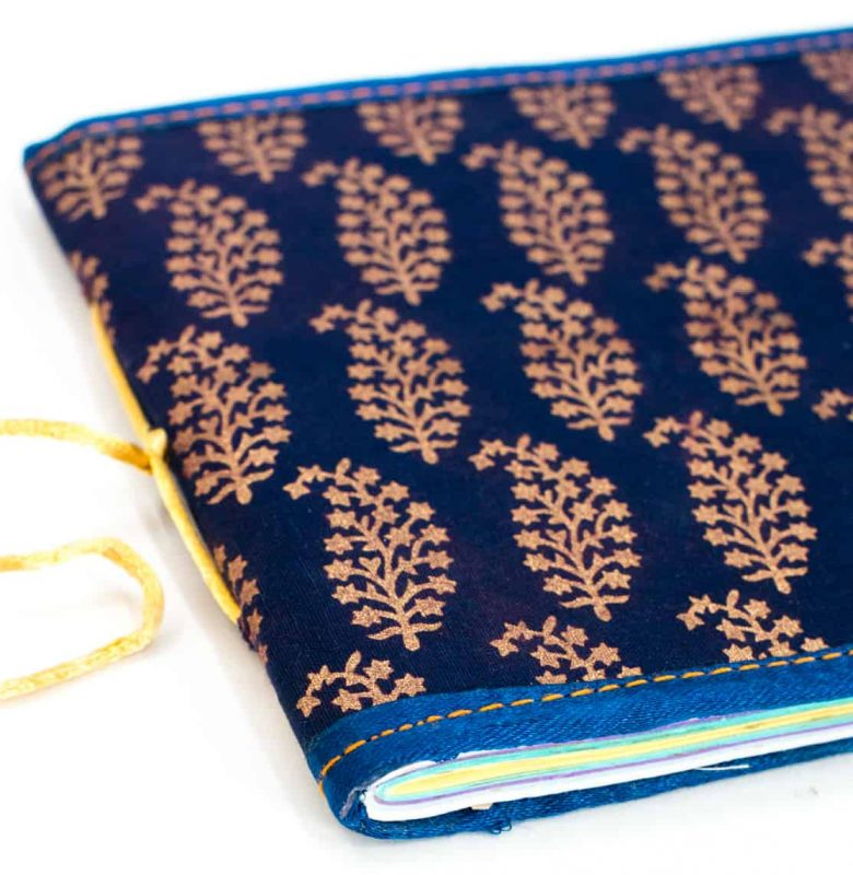 leaf motifs block printed onto a notebook cover