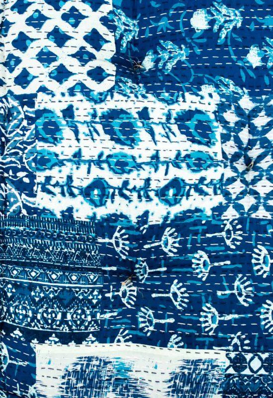 indigo and white hand block prints on a cushion