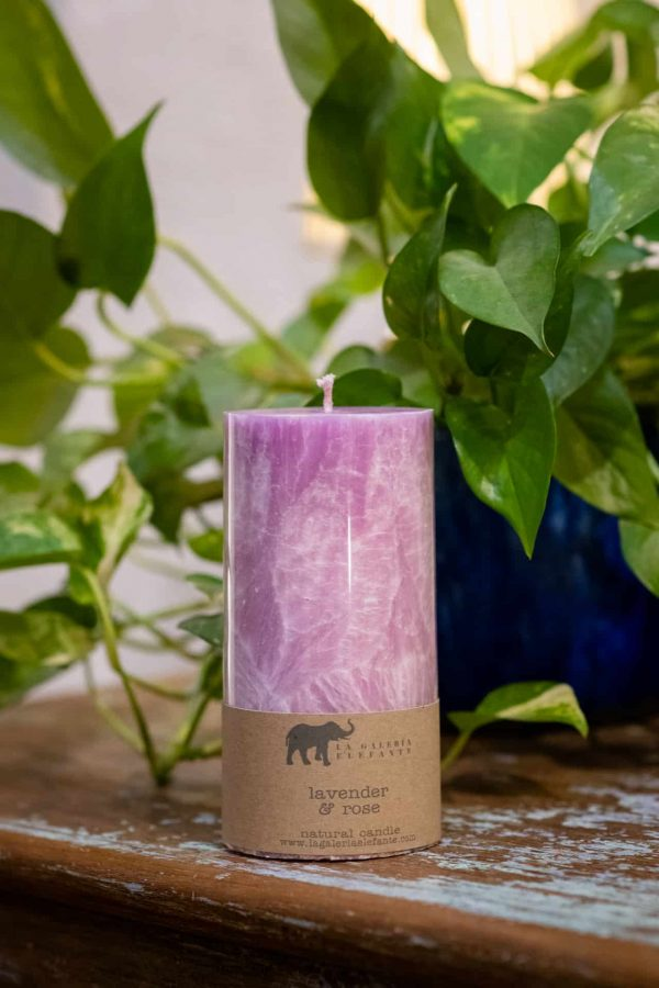 large mauve scented candle