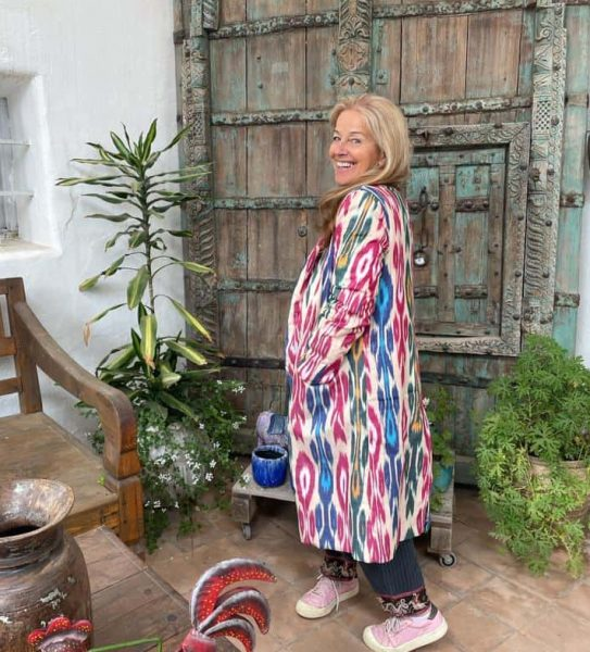 colourfully woven ikat coat