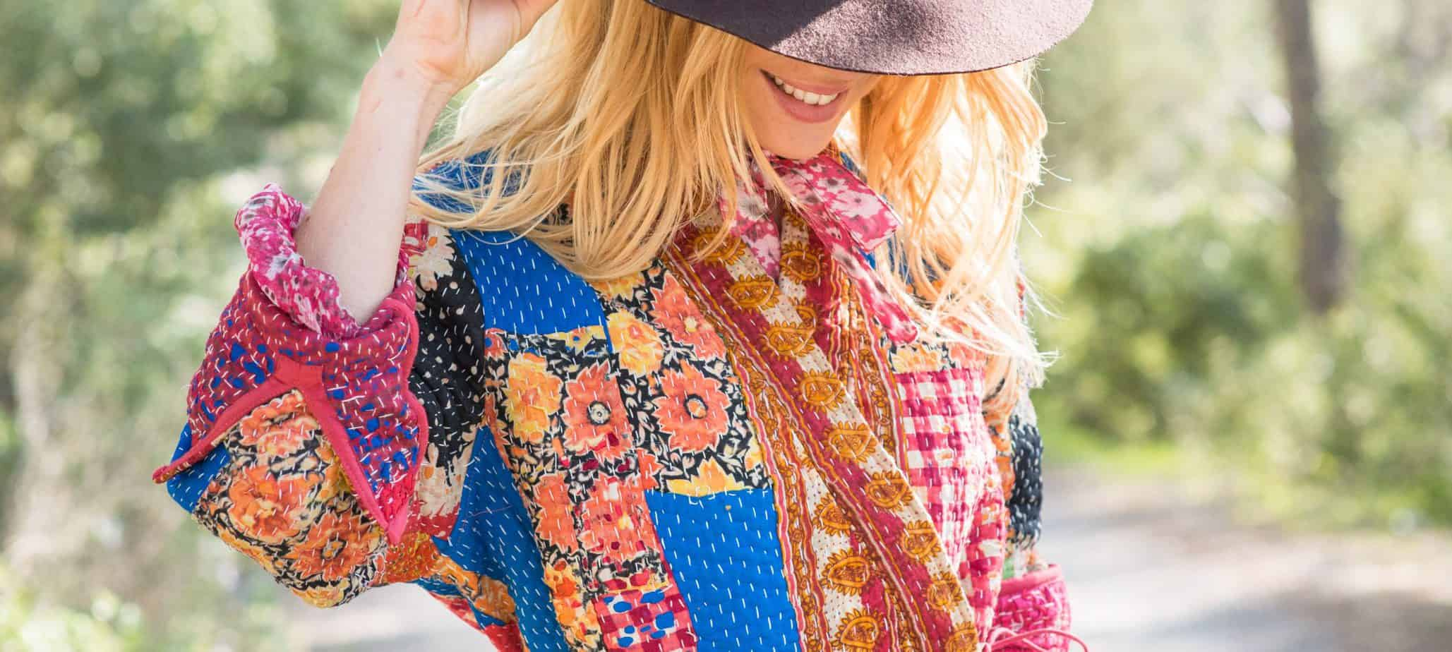 patchwork embroidery on a Kantha Stitch jacket