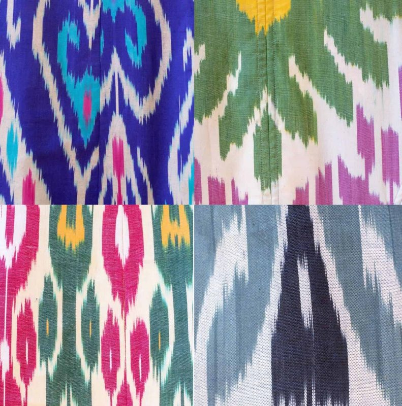brightly coloured ikat swatches