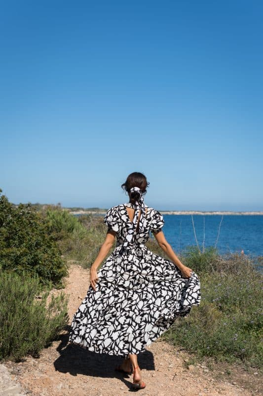 back of the black and white leaf printed dress