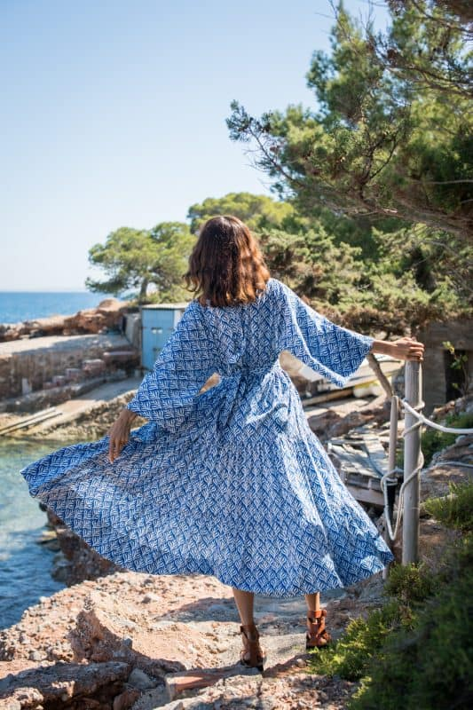 blue and white dress with kimono sleeves
