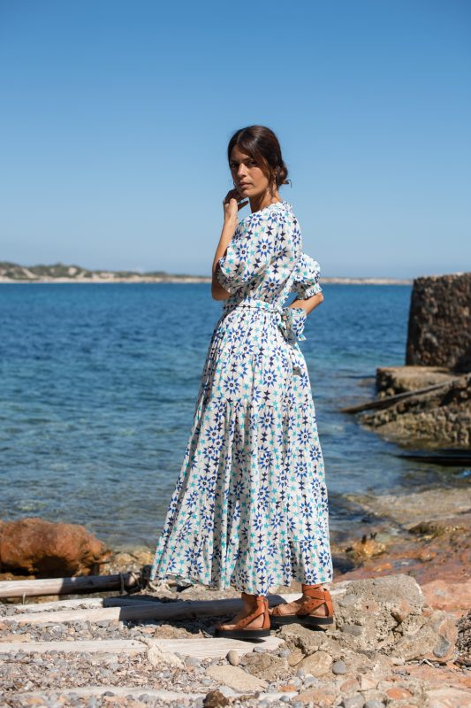 star tile printed dress in white and blue