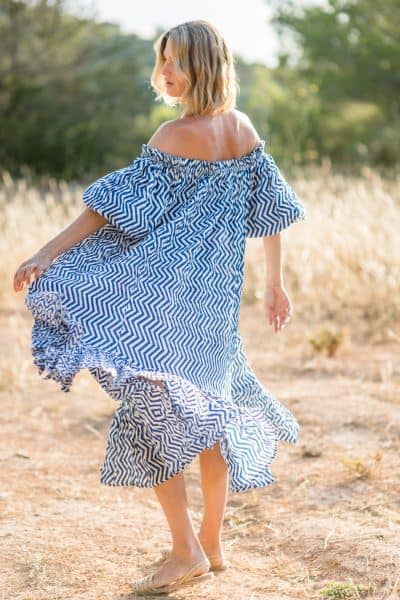 zigzag blue and white dress