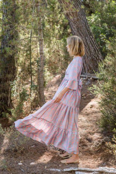 WIF Kimono Dress Silk Silver Jaipur side