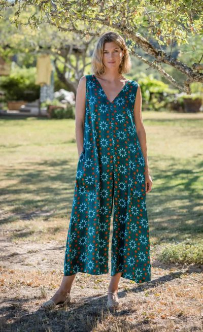 star tile print onesie with pockets teal
