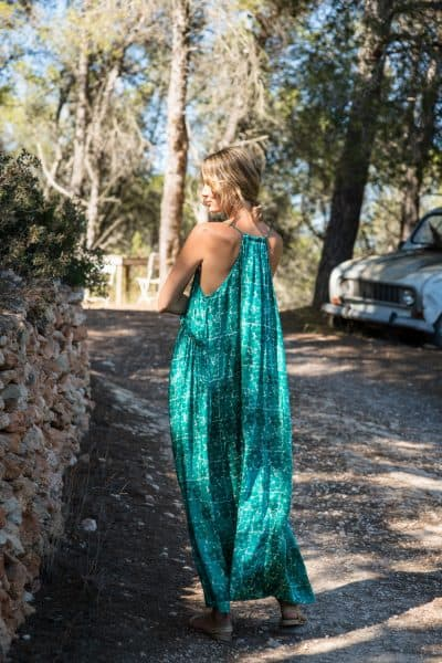 WIF Babydoll Dress Long Green Buna Floral back