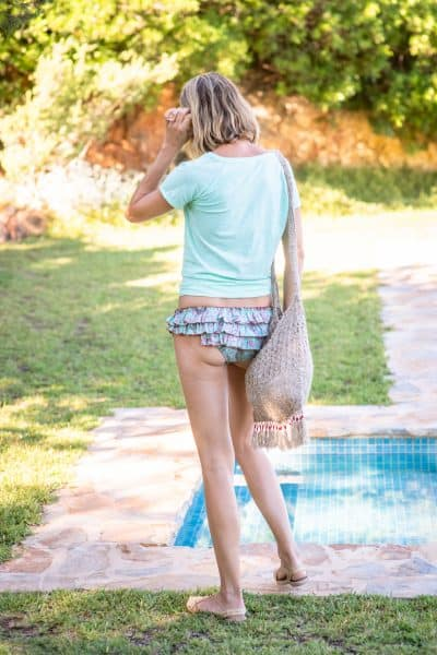Turquoise & Brown Cotton Frilly Rock Bikini