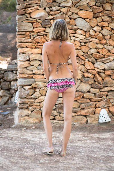 bikini with frills in pink and black silk