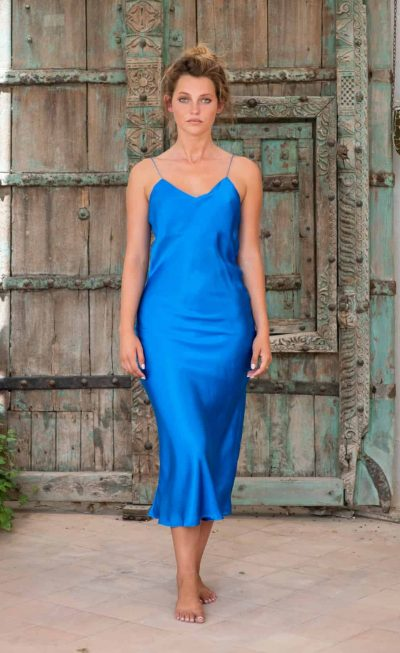 Silk Slip Dress Blue front