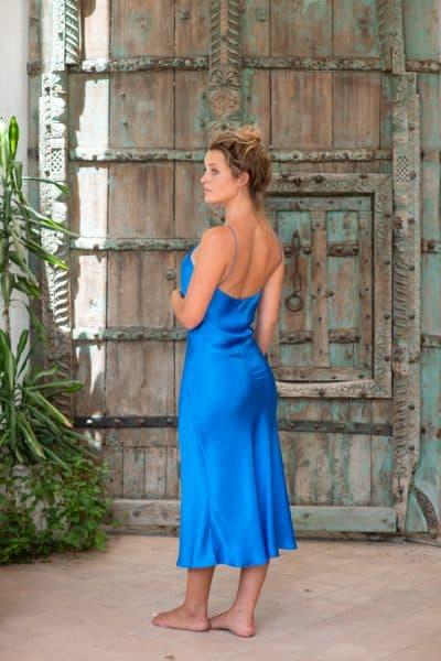Silk Slip Dress Blue left