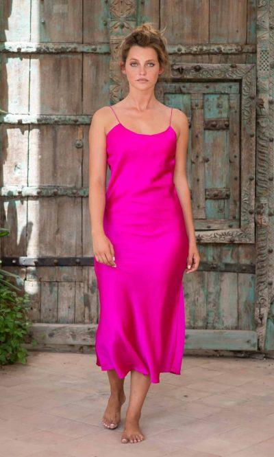 Silk Slip Dress Fuchsia front