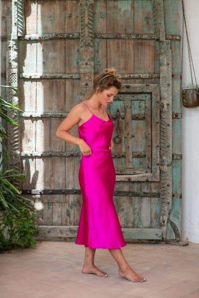 Silk Slip Dress fuchsia right