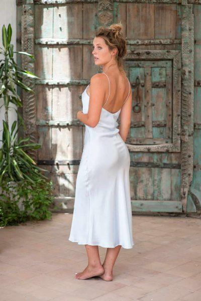 Silk Slip Dress Sky Blue back side