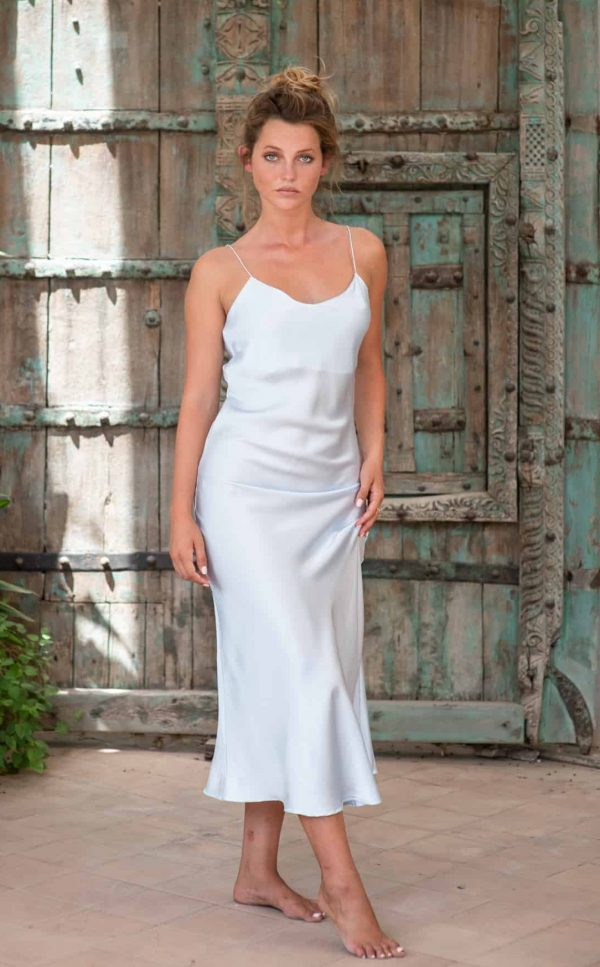 Silk Slip Dress Sky Blue front