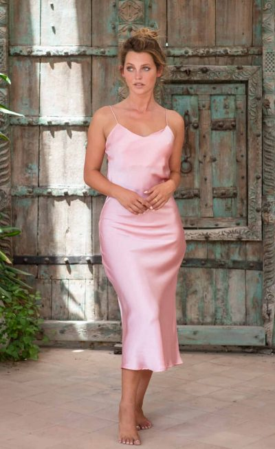 Silk Slip Dress Pink