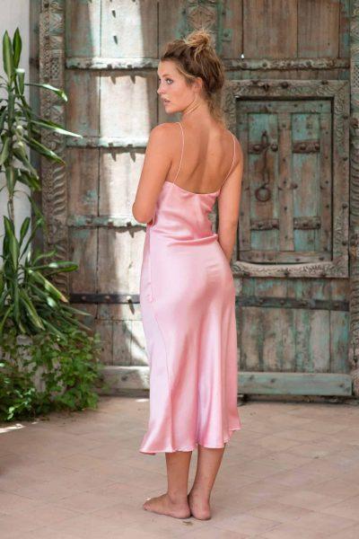 Silk Slip Dress Pink back side