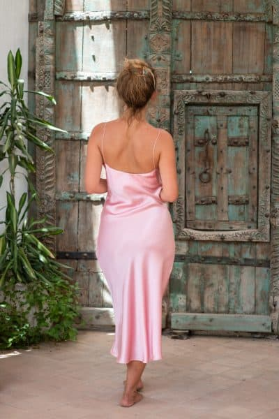 Silk Slip Dress Pink back