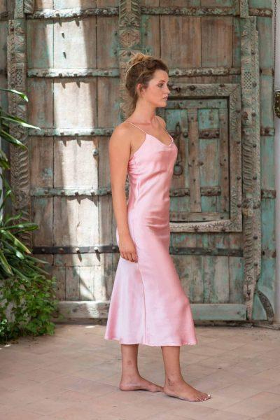 Silk Slip Dress Pink right