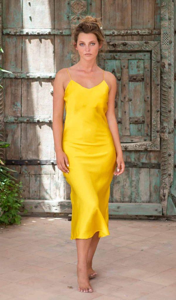 Yellow Silk Slip Dress front