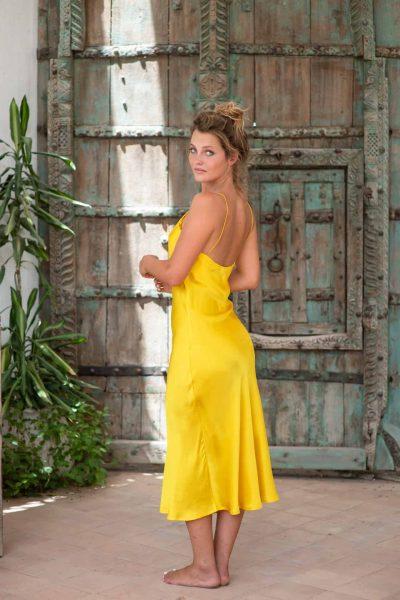 Yellow Silk Slip Dress back left