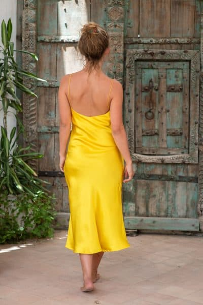 Yellow Silk Slip Dress back