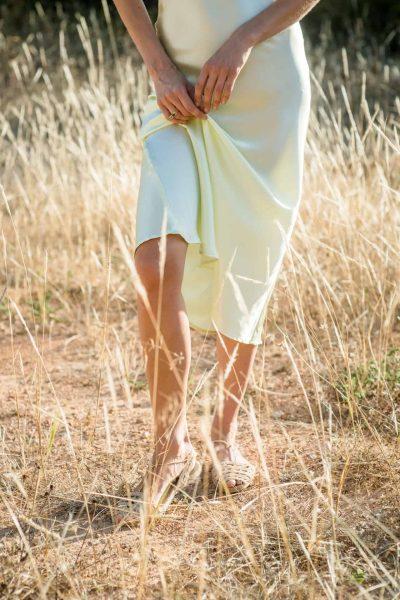 Pale Green Silk Slip Dress skirt close up