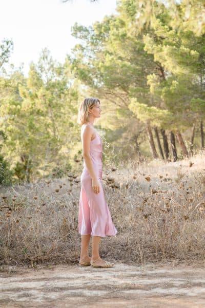 slip dress in mauve silk